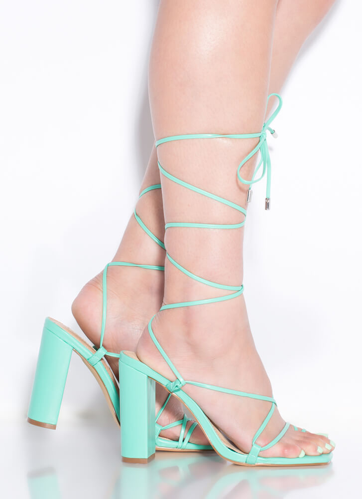 Dynamite Chunky Strappy Lace-Up Heels MINT