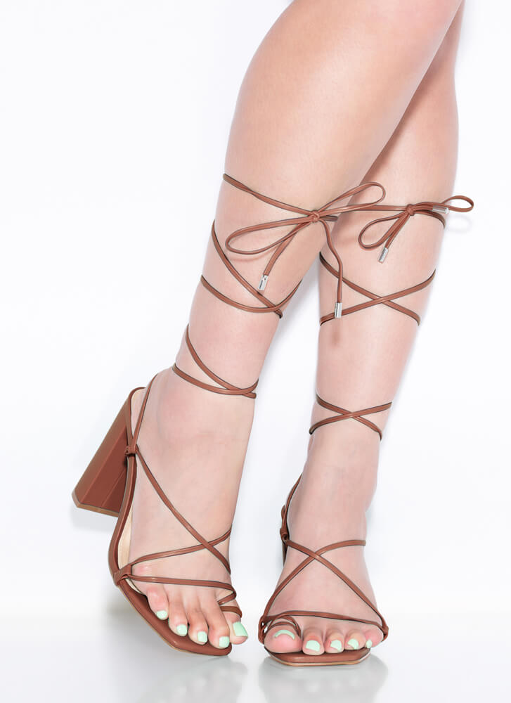Dynamite Chunky Strappy Lace-Up Heels TAN