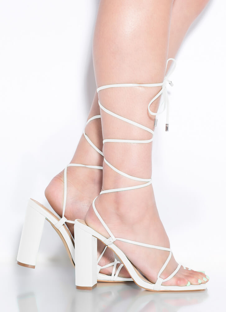 Dynamite Chunky Strappy Lace-Up Heels WHITE