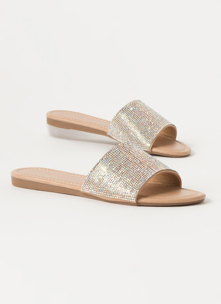 Bling Jeweled Faux Leather Slide Sandals NUDE
