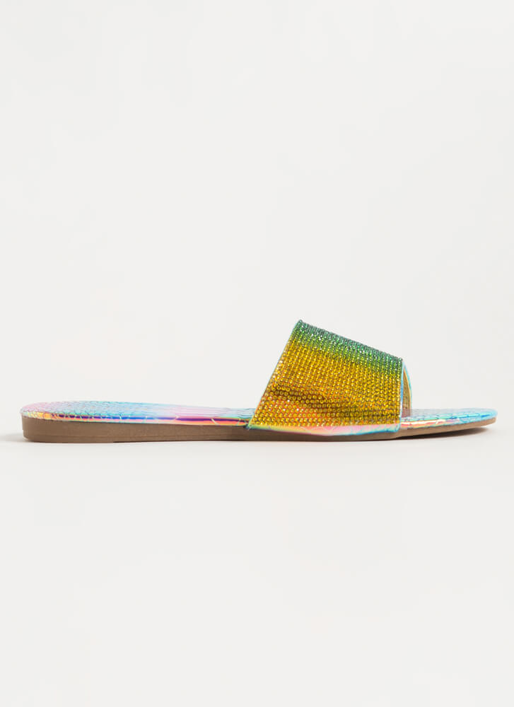 Bling Jeweled Holographic Slide Sandals PINK
