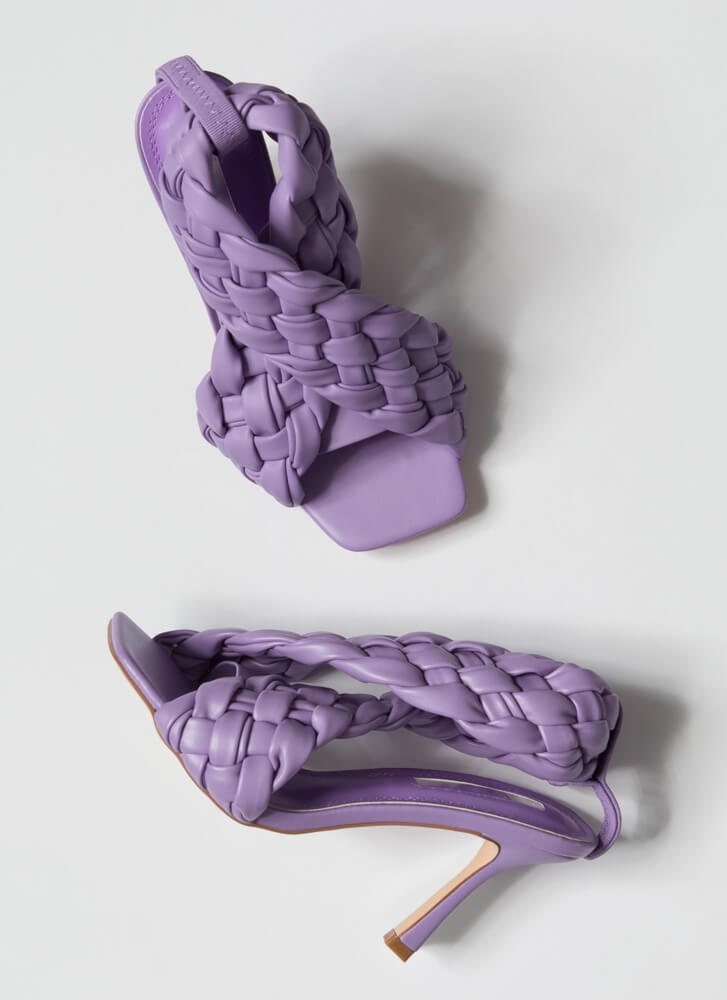 Weave Me To It Braided Banded Heels LILAC