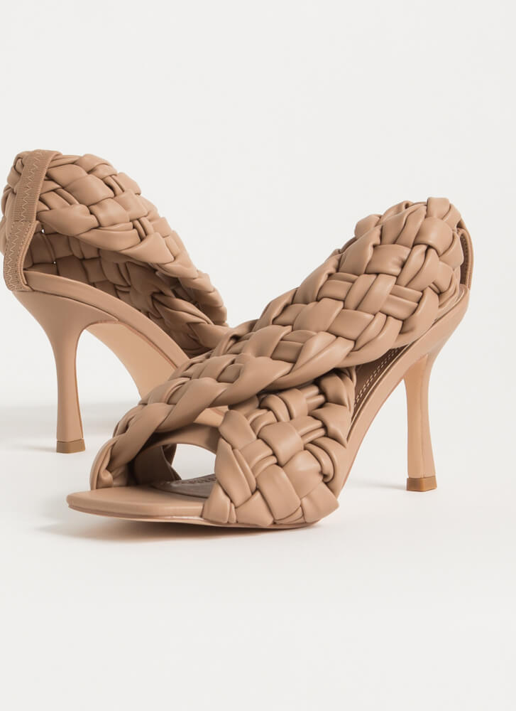 Weave Me To It Braided Banded Heels NUDE