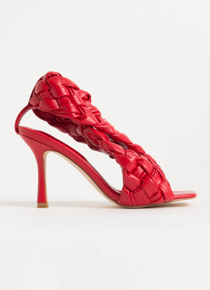 Weave Me To It Braided Banded Heels RED
