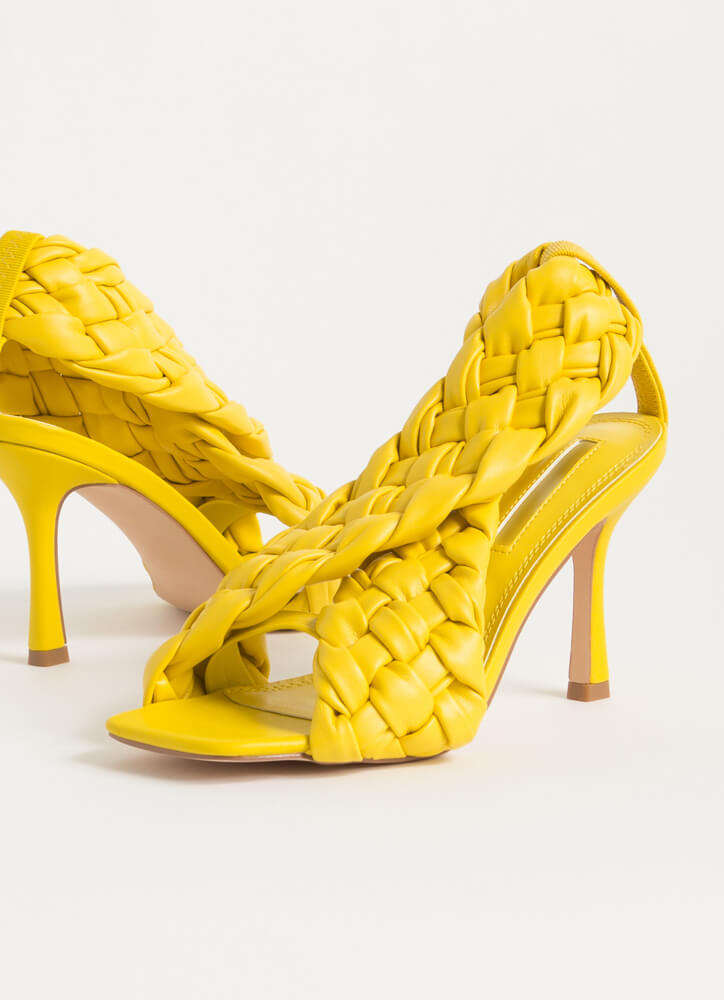 Weave Me To It Braided Banded Heels YELLOW