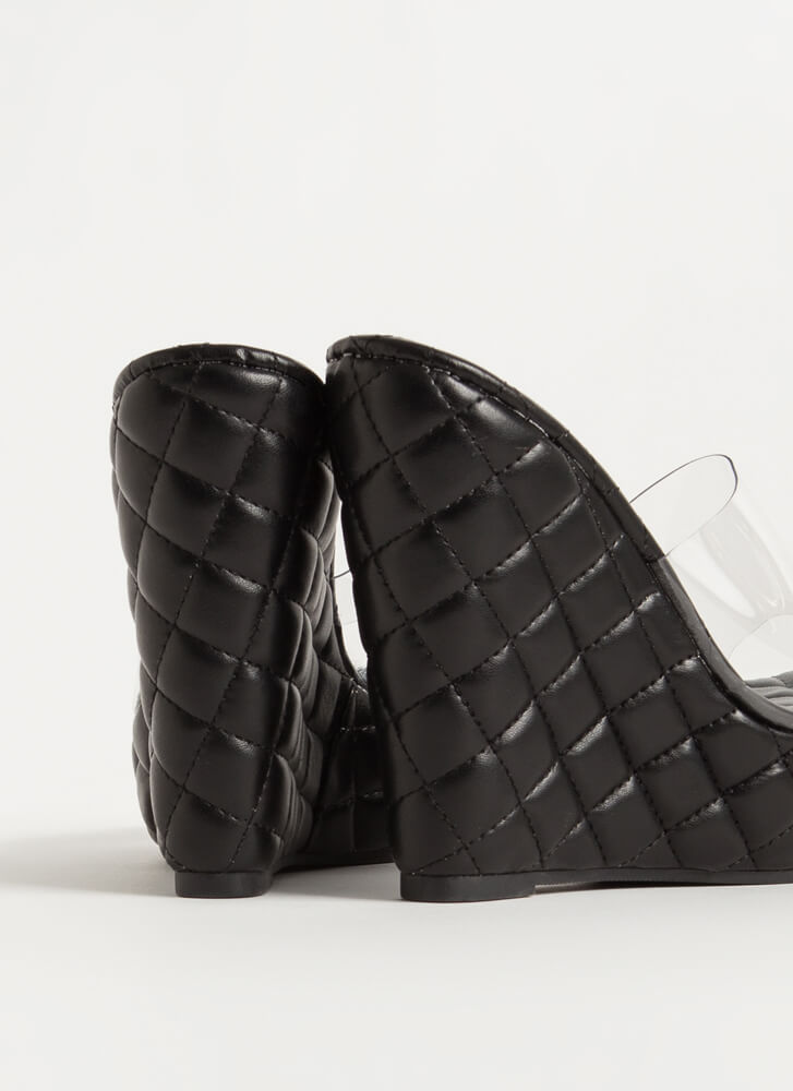 Clearly Quilted Platform Mule Wedges BLACK