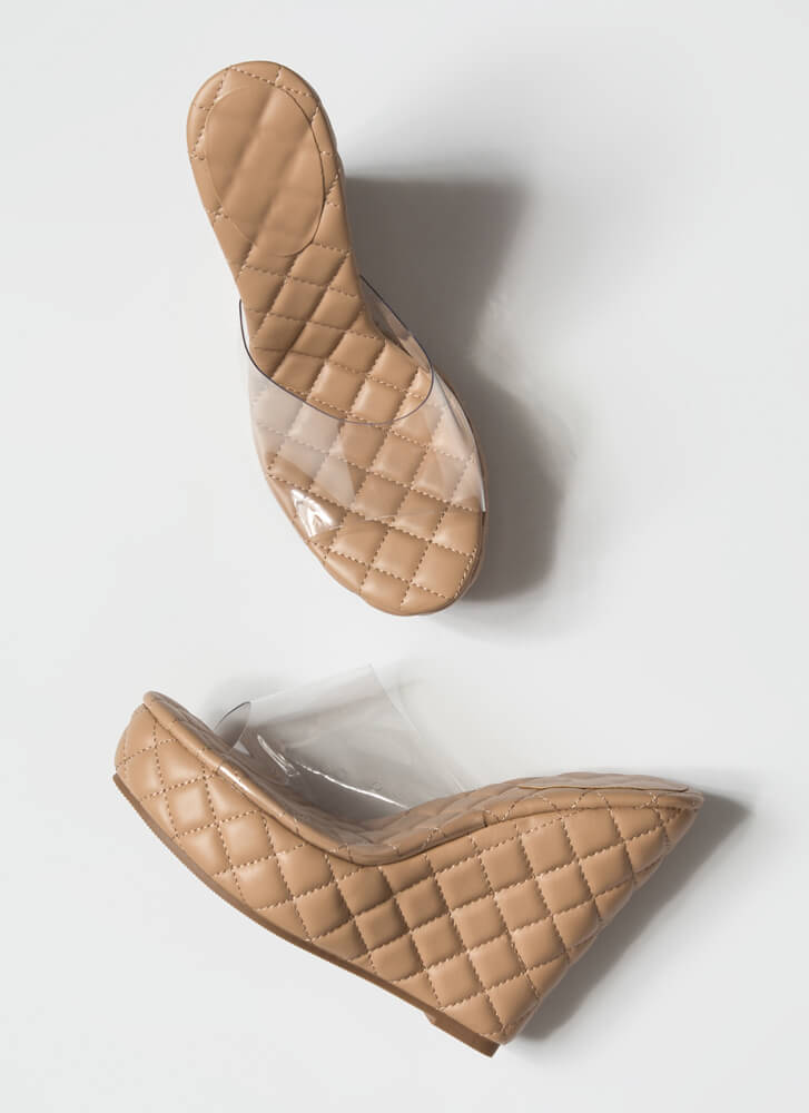 Clearly Quilted Platform Mule Wedges NUDE