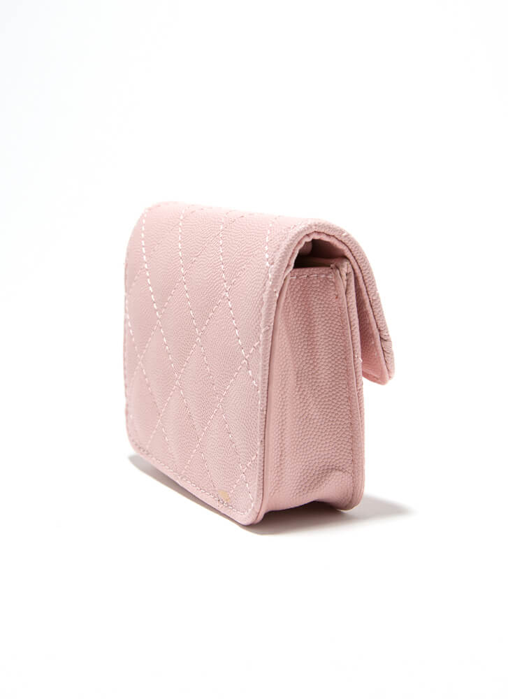 Mini Me Quilted Pearl Strap Micro Purse PINK