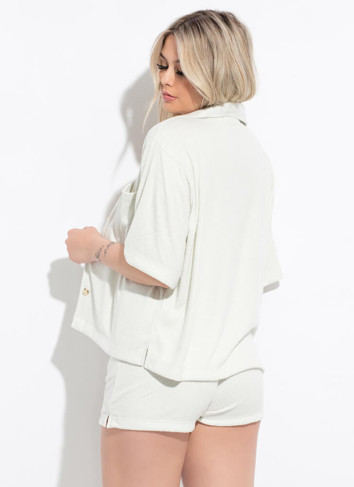 Home Soft Terrycloth Button-Up Top GREY