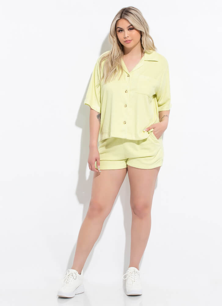 Home Soft Terrycloth Button-Up Top SAGE
