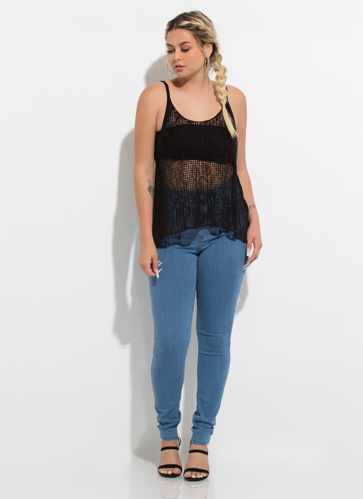 Great Catch Netted Sleeveless Swing Top BLACK