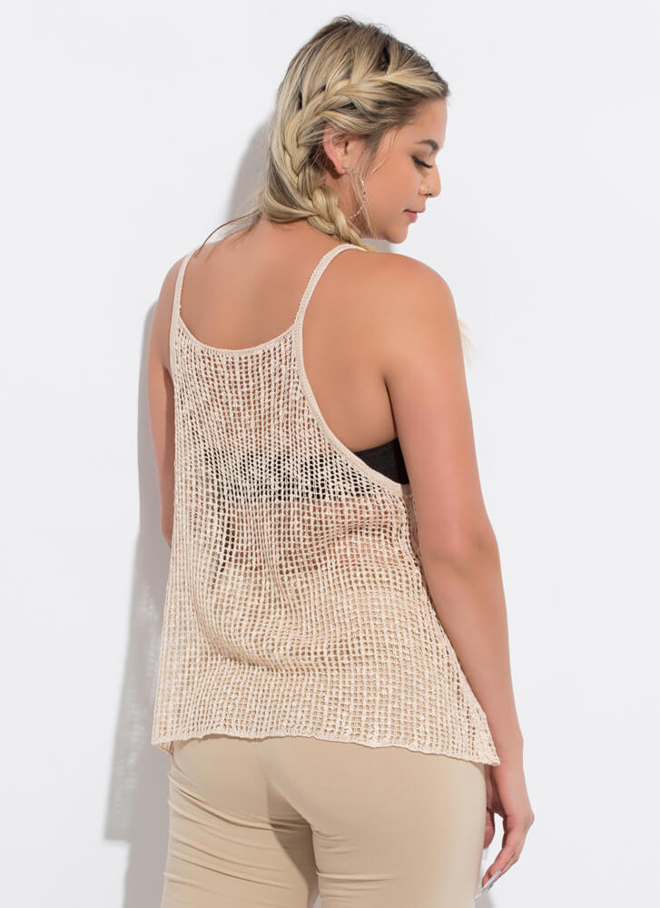 Great Catch Netted Sleeveless Swing Top SAND