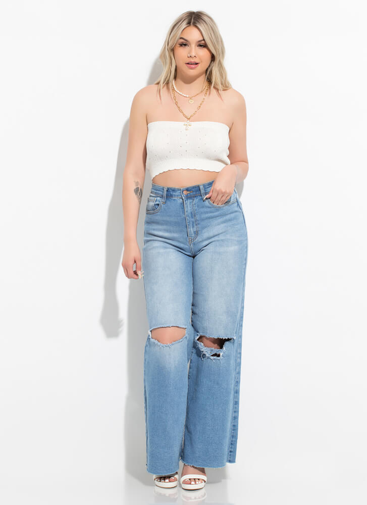 Knit's For You Cropped Eyelet Tube Top OFFWHITE
