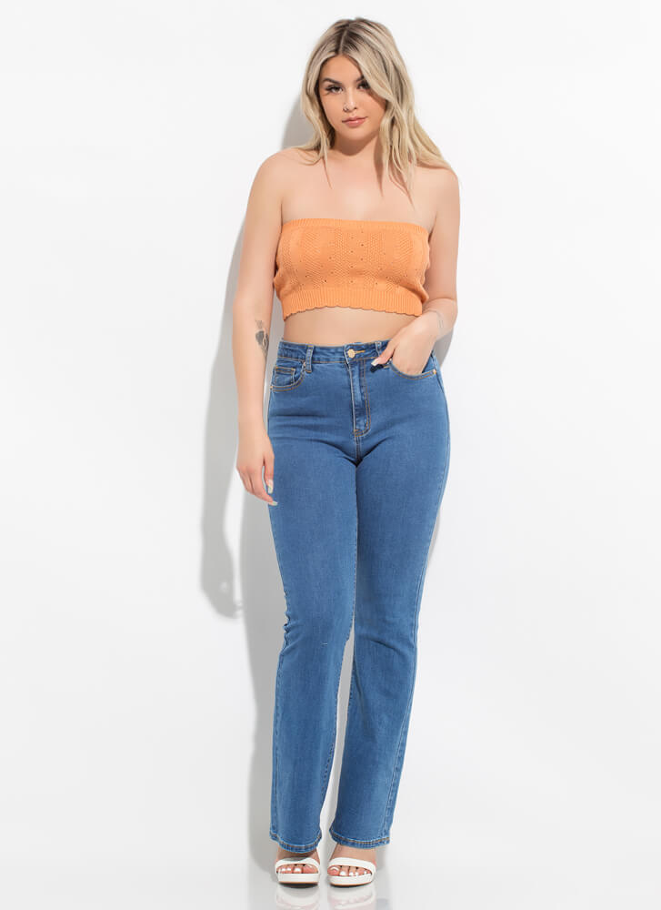 Knit's For You Cropped Eyelet Tube Top ORANGE