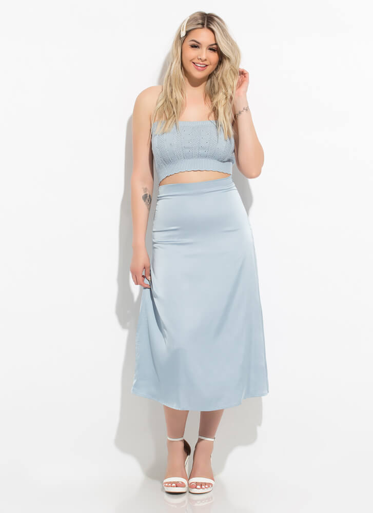 Knit's For You Cropped Eyelet Tube Top SMOKEBLUE