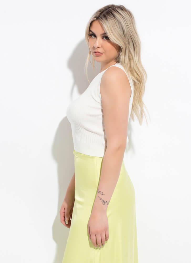 Easy Way Out Cropped Rib Knit Tank Top OFFWHITE