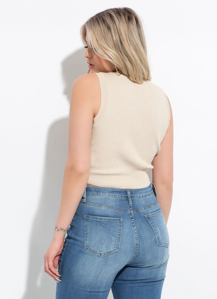 Easy Way Out Cropped Rib Knit Tank Top SAND