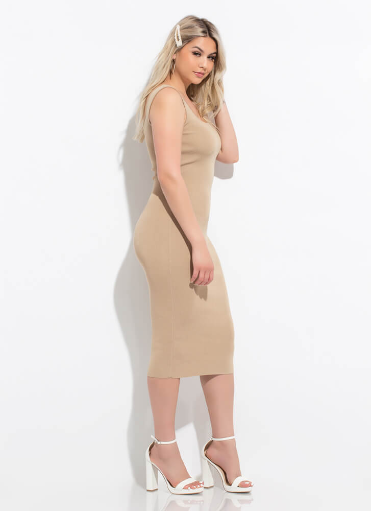 Whatever You Want Knit Midi Tank Dress TAUPE