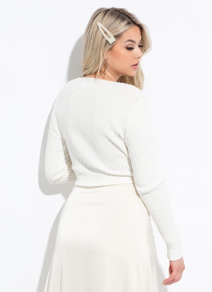 Just Right Ribbed Long-Sleeved Crop Top OFFWHITE