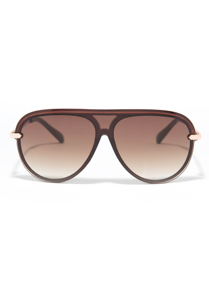 Fly High Trimmed Aviator Sunglasses BROWN