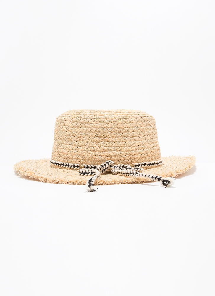 Tied With Ribbon Fringed Straw Hat BEIGE