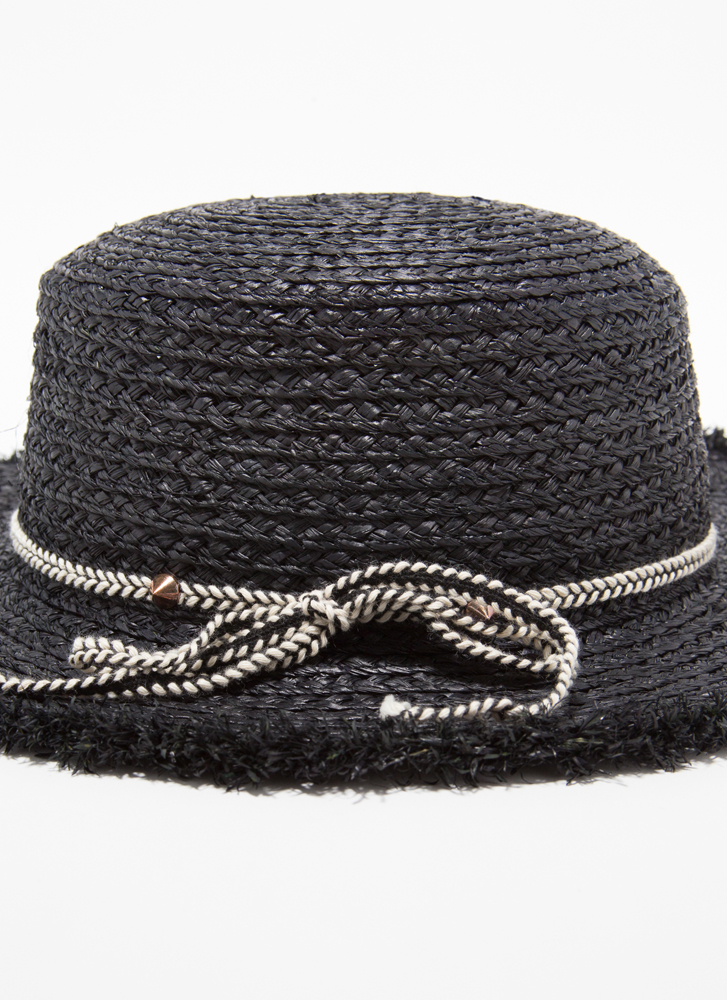 Tied With Ribbon Fringed Straw Hat BLACK
