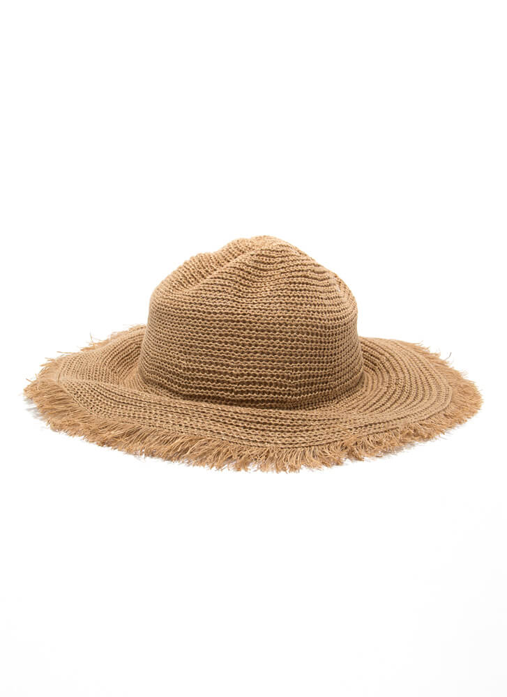 Sun Day Shapeable Fringed Burlap Hat TAUPE