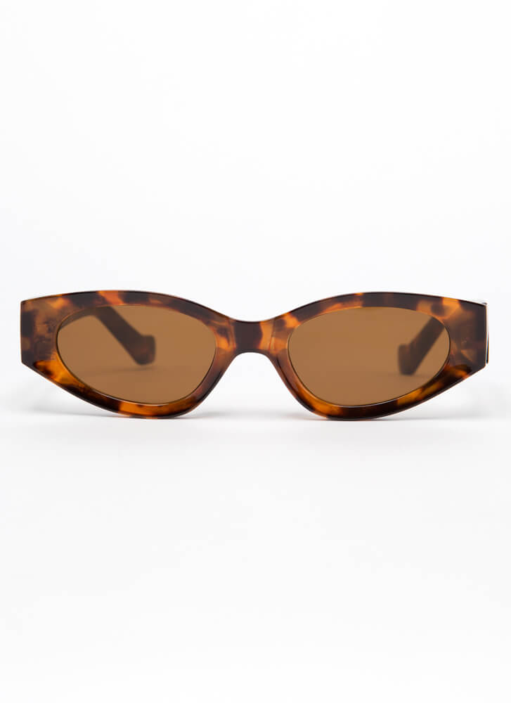 Get Retro Rounded Resin Sunglasses BROWN