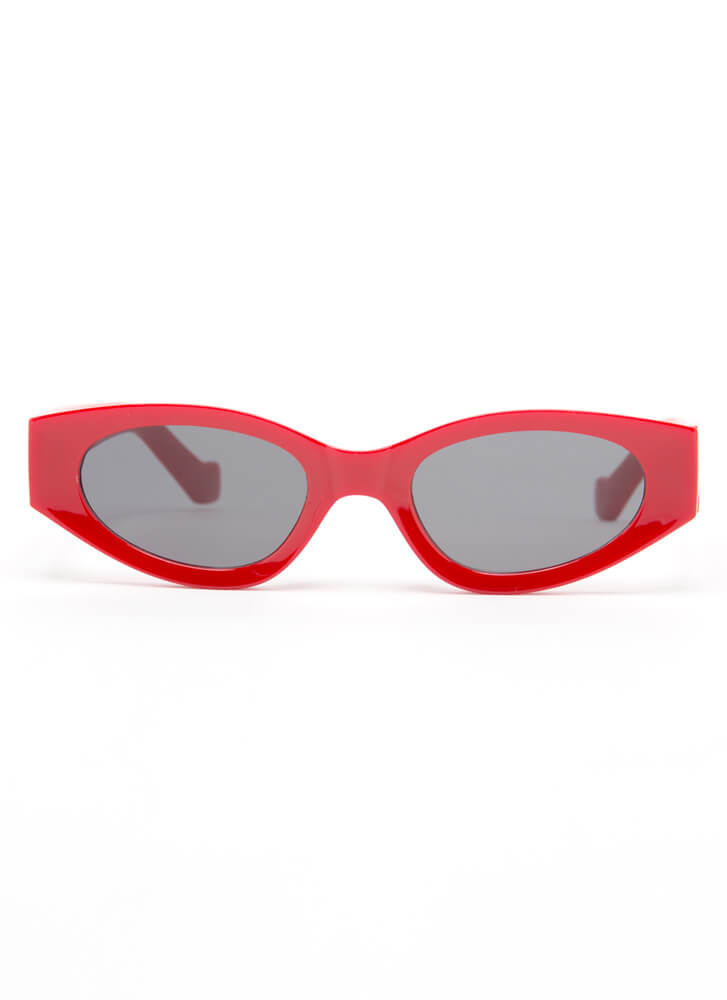 Get Retro Rounded Resin Sunglasses RED