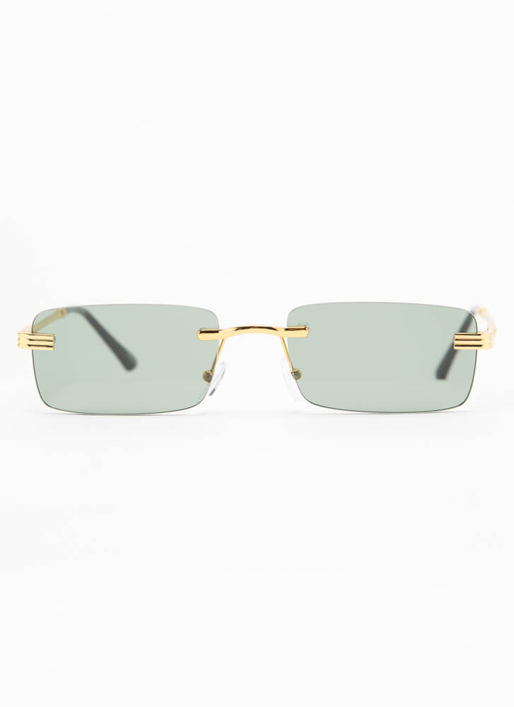 With A Twist Frameless Sunglasses GREEN