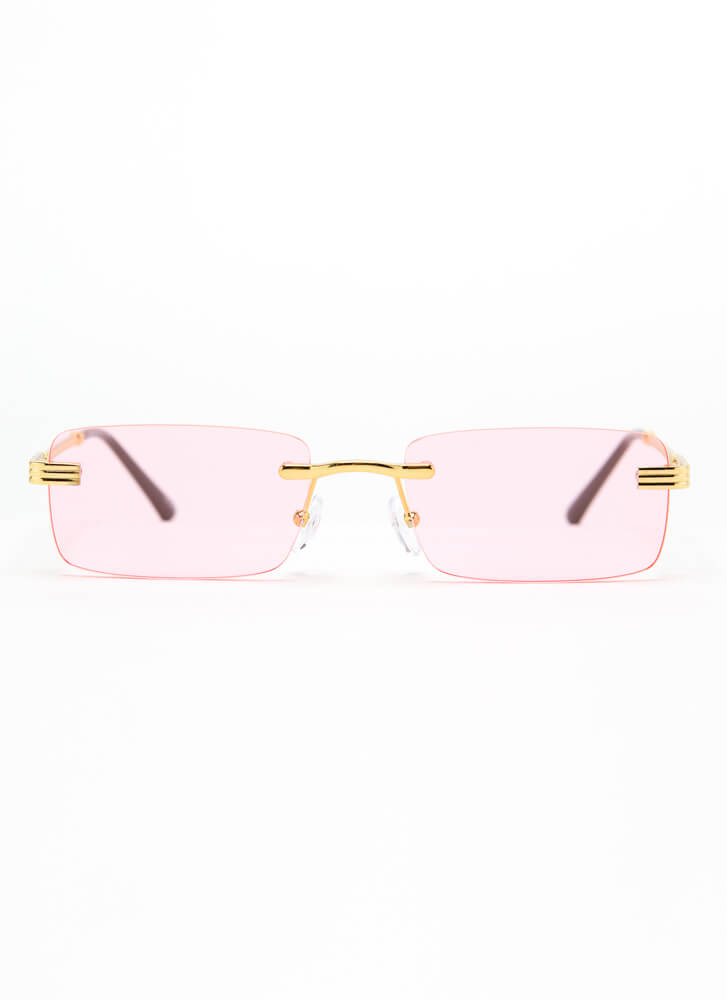 With A Twist Frameless Sunglasses PINK