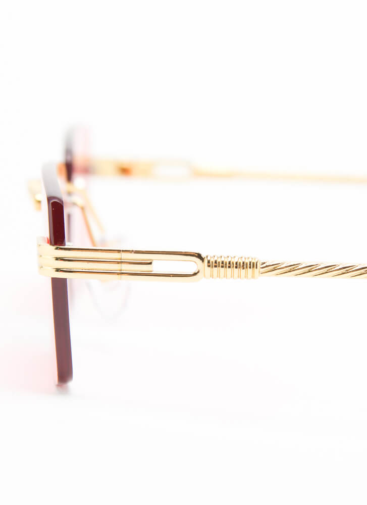 With A Twist Frameless Sunglasses RED