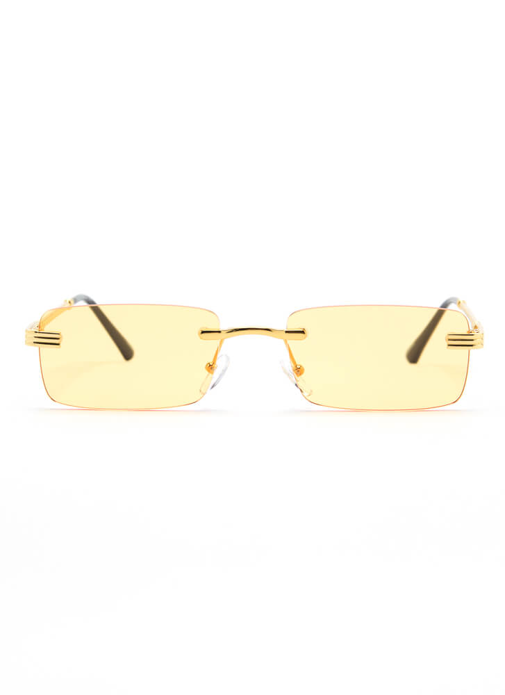 With A Twist Frameless Sunglasses YELLOW