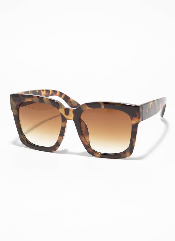 Go Big Oversized Thick-Rimmed Sunglasses BROWN