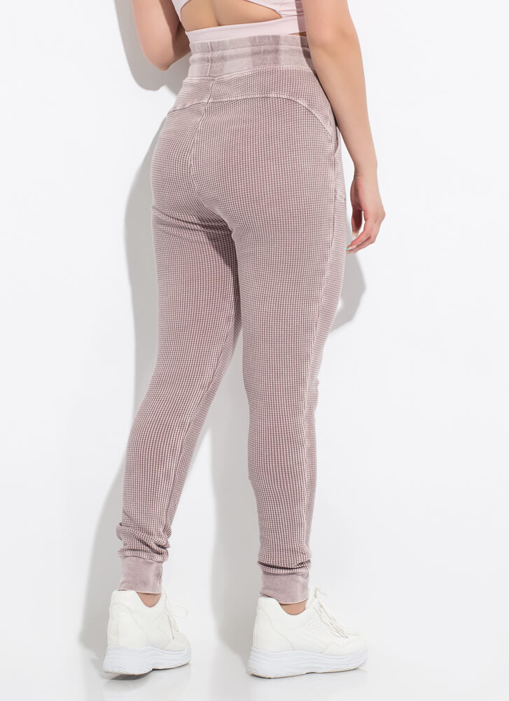 Casual Attitude Waffle Knit Joggers DUSTYPINK