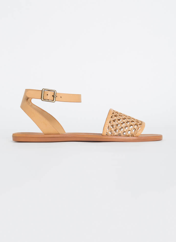 Make A Basket Strappy Netted Sandals NATURAL
