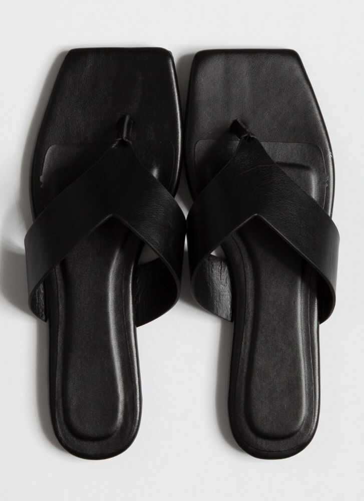 V For Vacay Squared-Toe Thong Sandals BLACK