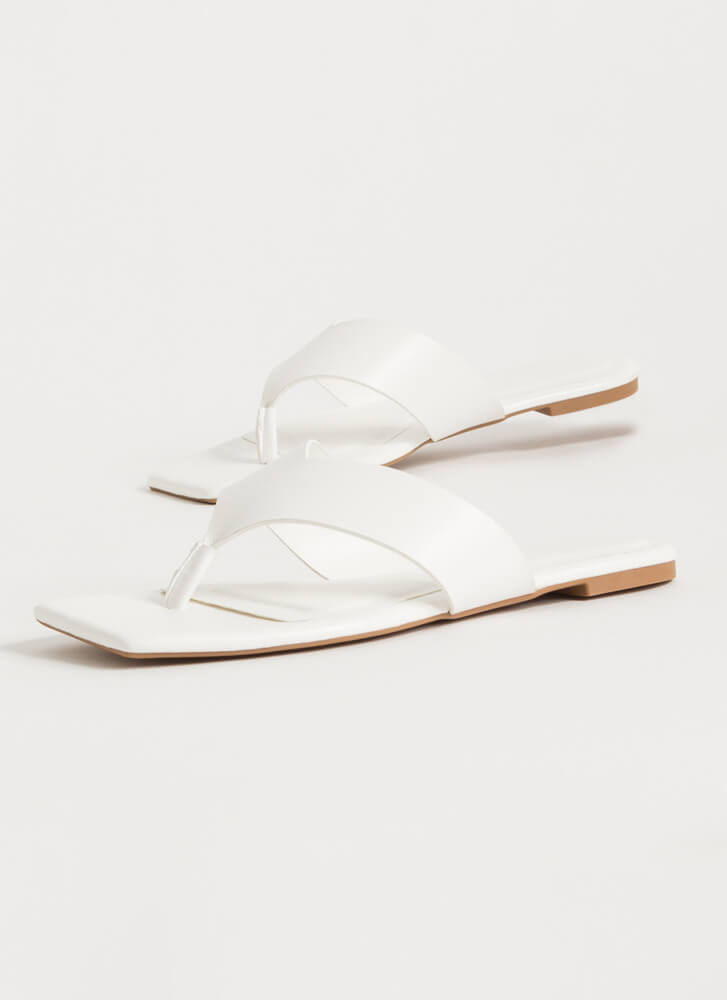 V For Vacay Squared-Toe Thong Sandals WHITE