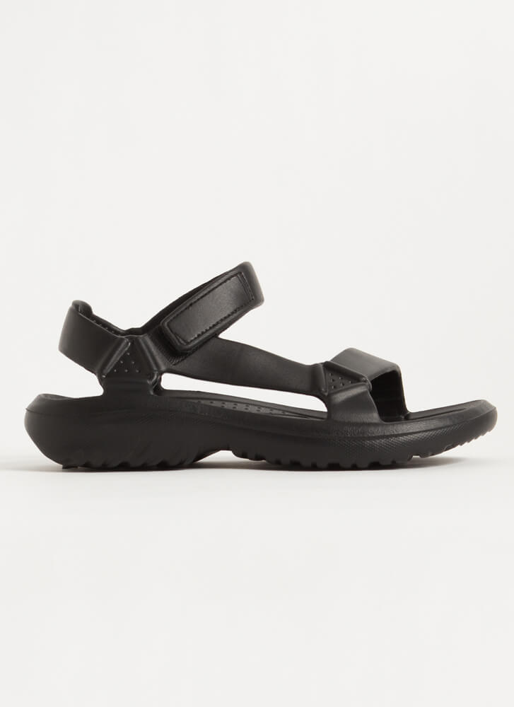 This Weekend Sporty Faux Harness Sandals BLACK