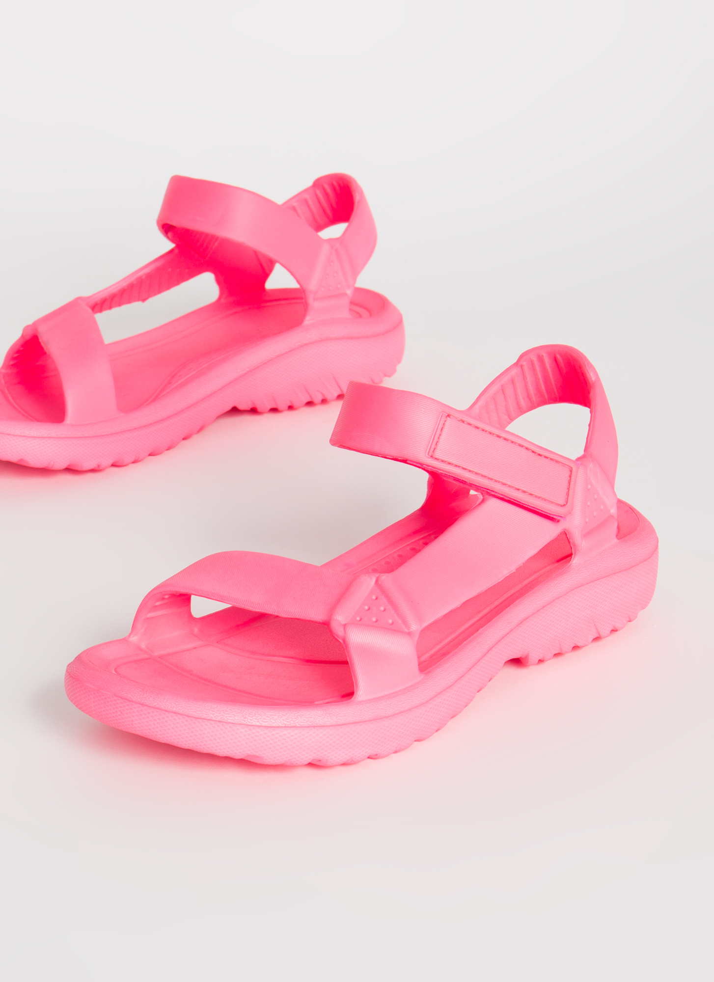 This Weekend Sporty Faux Harness Sandals HOTPINK