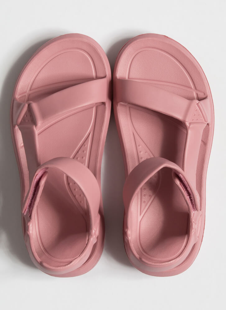 This Weekend Sporty Faux Harness Sandals MAUVE