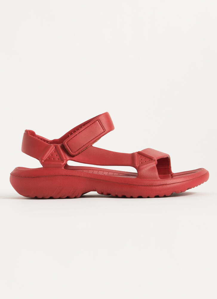 This Weekend Sporty Faux Harness Sandals RED