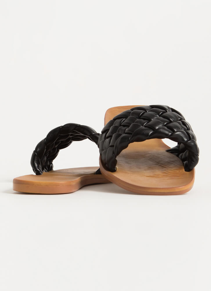 Braids Woven Vegan Leather Slide Sandals BLACK