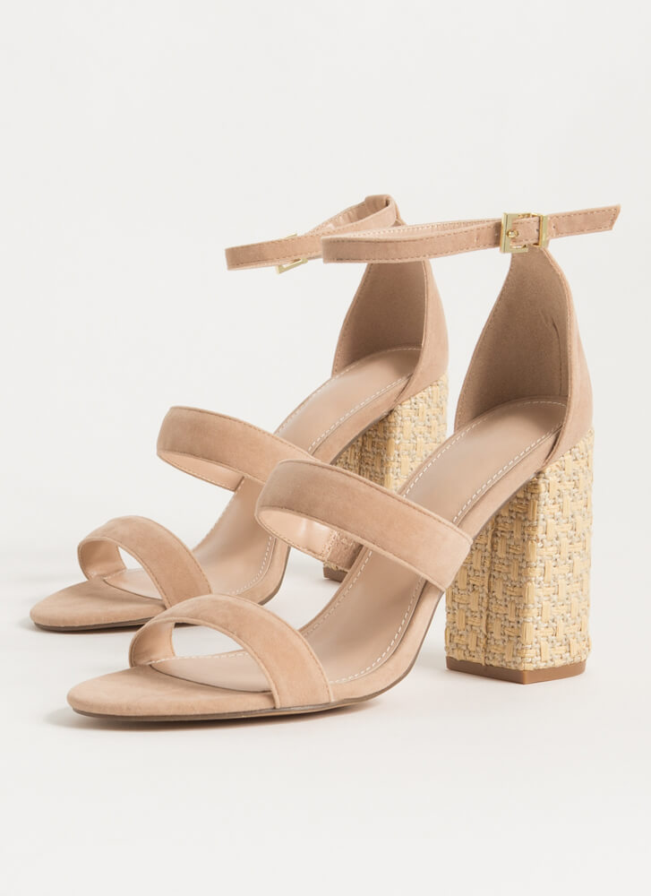 Private Villa Basketwoven Chunky Heels TAUPE