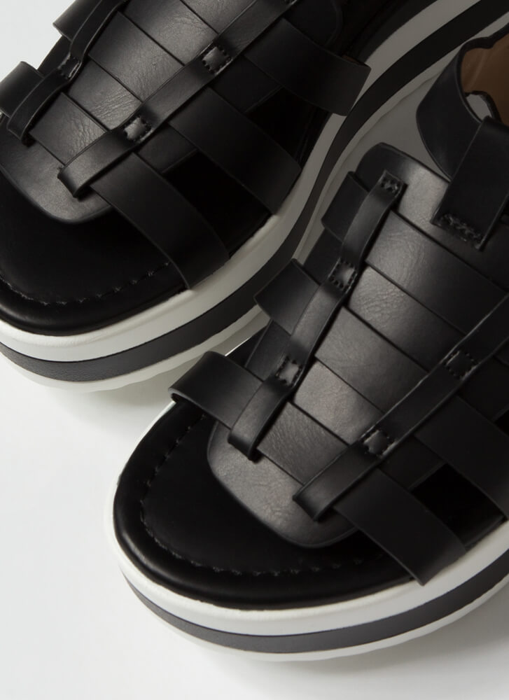 Spring Vacation Striped Wedge Sandals BLACK