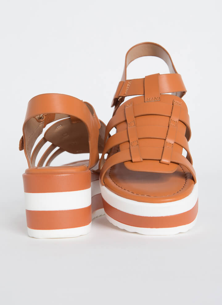 Spring Vacation Striped Wedge Sandals MOCHA