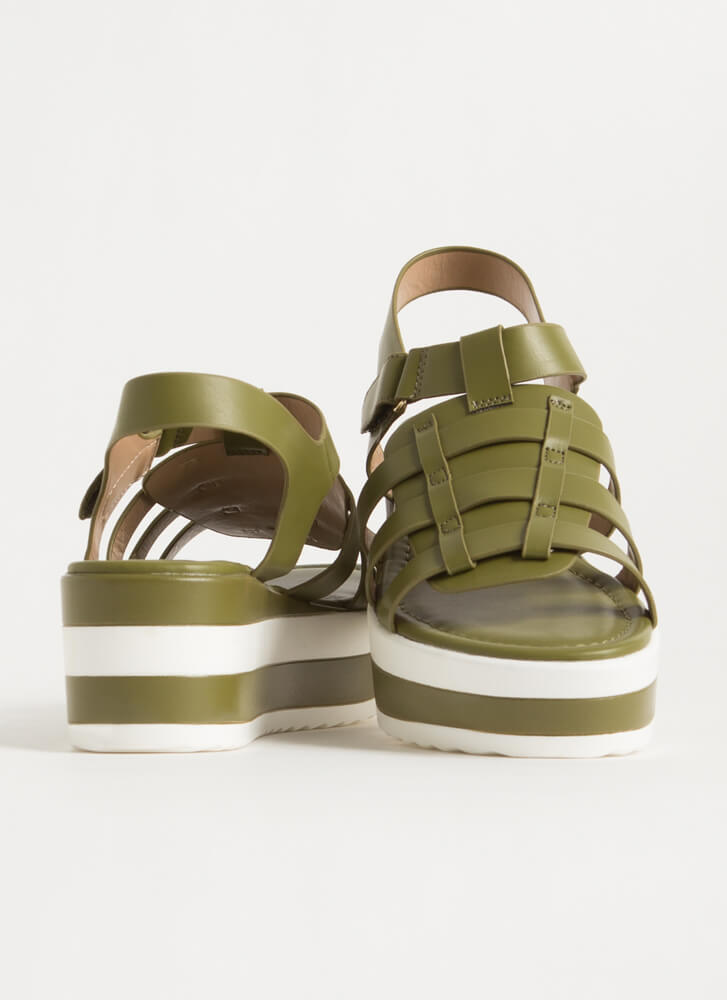 Spring Vacation Striped Wedge Sandals OLIVE