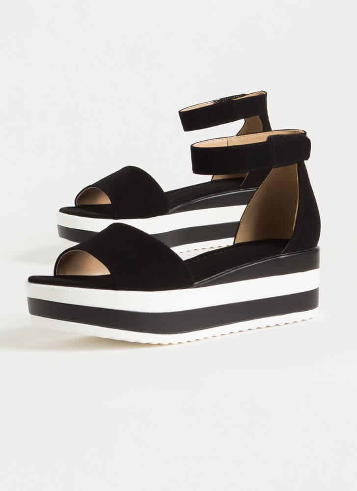 Summer Vacation Striped Wedge Sandals BLACK