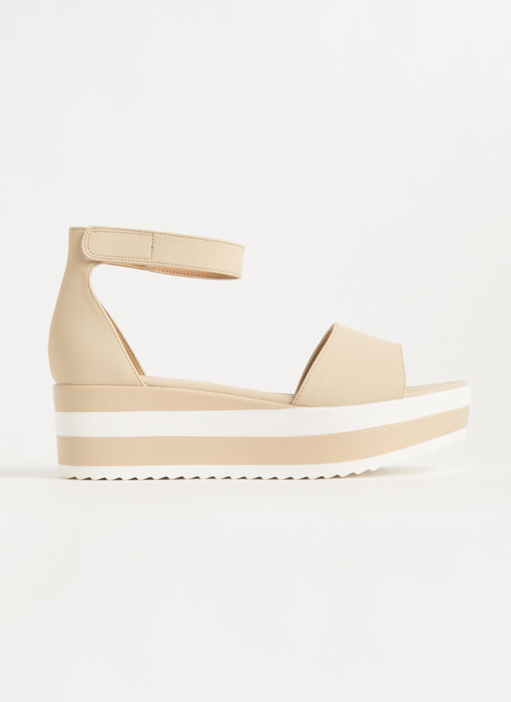 Summer Vacation Striped Wedge Sandals NUDE