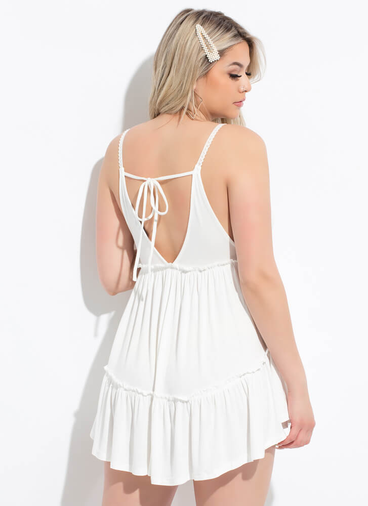 Short Day Tiered Babydoll Minidress OFFWHITE